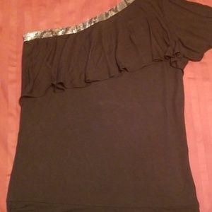 Black Sequin One Sleeve Top
